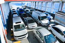 Car Ferry Boat With Rows Of Cars