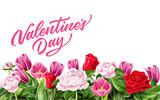 Fototapeta Tulips - Vector valentine day rose peony tulip flower