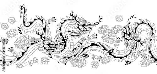 Fotografie, Obraz  Seamless pattern with Chinese dragons.