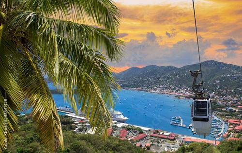 Fotografie, Obraz  View at st. Thomas harbor from Paradise Point