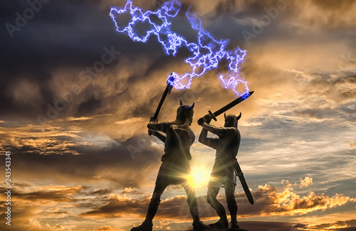 Photo  Mythical duel between two Old Norse Gods (one holding an ax and the other holdin