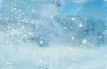 Watercolor Winter Snowstorm