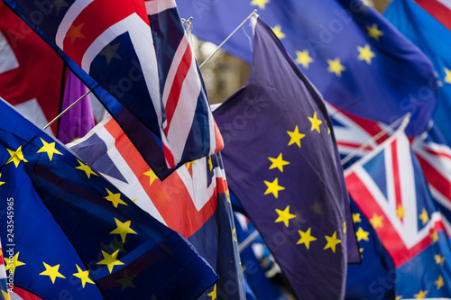 European Union and British Union Jack flag flying together. A symbol of the Brexit EU referendum