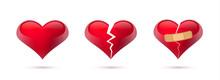 Broken Hearts Vector Set Of 3d...