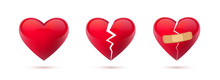 Broken Hearts Vector Set Of 3d Realistic Icons And Symbols. Isolated In White Background. Vector Illustration
