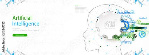 Fotografie, Obraz  Artificial intelligence (AI) and big data concept