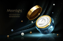 Vector 3d Realistic Cosmetic Advertising Mock Up - Night Cream In Jar, Luxury Cosmetics.Moisturizing Essence With Pearl In Branded Blue Glass Container, Golden Cap. Skincare Product On Dark Background