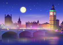 Big Ben And Westminster Bridge In London At Night. Vector Illustration In Cartoon Style.
