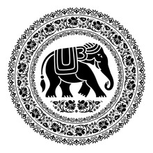 Tribal Style Elephant In Round...