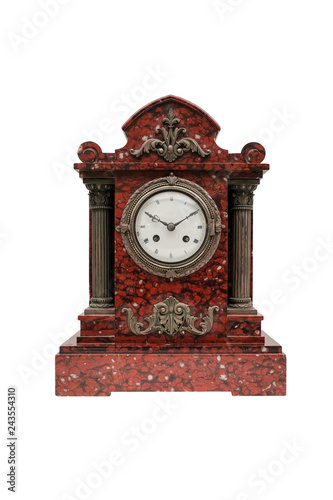 Fotografie, Obraz  Antique mantel clocks made of bronze and marble on a white background