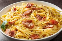 Spaghetti Carbonara In White Bowl