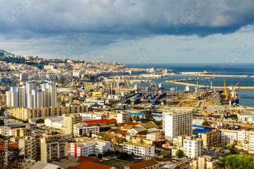 Algiers city sea port view. Canvas Print