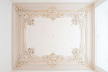 Stucco Ceiling Decoration In Old Building Apartment -