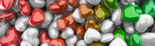 Fotografie, Obraz  Czerwone, zielone i białe serca