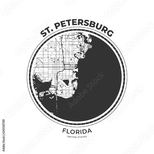 T-shirt map badge of St  Petersburg, Florida - Buy this