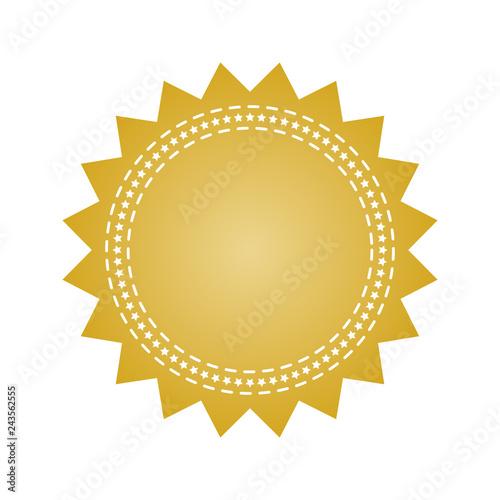 Obraz na plátne Embroidered gold round ribbon stamp isolated on white