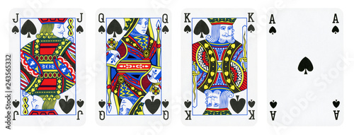 Photo  Spade Suit Playing Cards, Set include King, Queen, Jack and Ace - isolated on wh