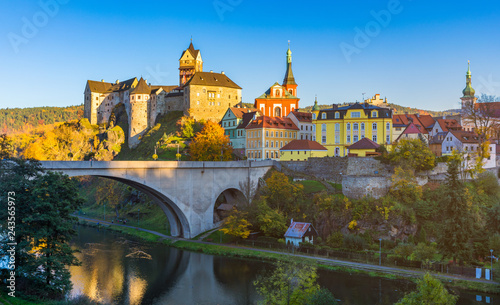 Colorful town Loket in autumn over Eger river in the Sokolov District in the Karlovy Vary region of the Czech Republic