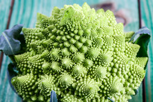 Romanesco Broccoli Close Up. The Fractal Vegetable Is Known For It's Connection To The Fibonacci Sequence And The Golden Ratio. Fun Food For Any Practical Scientists That Loves Mathematics
