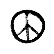 Handdrawn Pacifist Sign, Peace Symbol, Black Brush Paint. Hippie Grunge Icon On A White Background. Vector