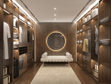 Luxury Dark Red Wood Modern Men Dressing Room With Daybed