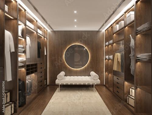 Fotografie, Obraz  Luxury dark red wood modern men dressing room with daybed