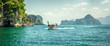 Leinwandbild Motiv Traditional long tail boat at koh Hong island