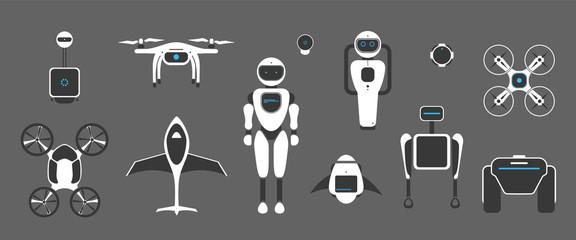 Modern robotic set vector illustration with stylish robot, drone, autonomous vehicle, flying car
