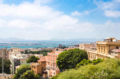 panoramic cityscape of cagliari during sunny summer day