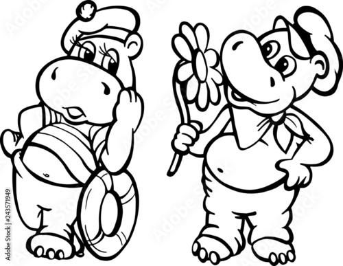 Fototapeta Hipopotamy na randce obraz