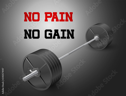 Stampa su Tela Beautiful realistic perspective fitness vector banner of an olympic barbell with black iron plates on dark background and no pain no gain sign