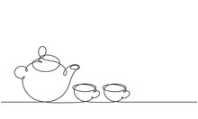 Teapot And Cups. Continuous Li...