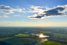 Beautiful  Top View Of Sunset In Countryside Of Moscow Region, Russia