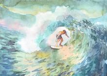 Surfer Man Ocean Watercolor Pr