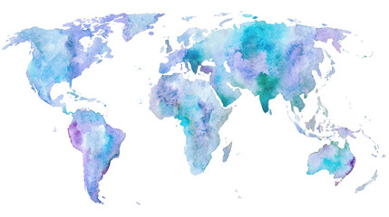 Fototapeta Optyczne powiększenie World map.Earth.Watercolor hand drawn illustration.White background.