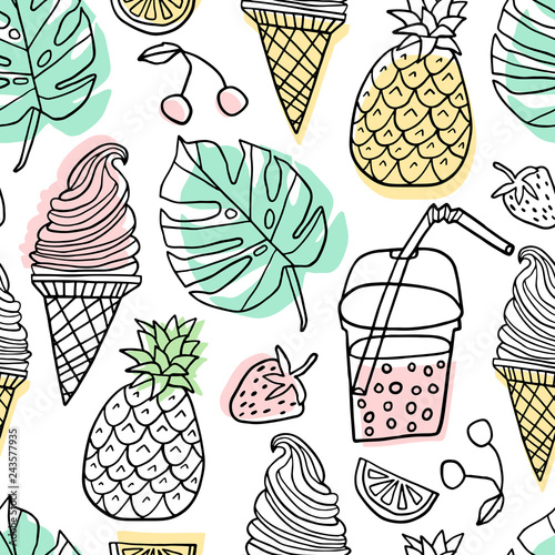 Summer vector seamless pattern. Line cute doodle Canvas Print
