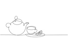 Teapot And Cup. Tea With Lemon...