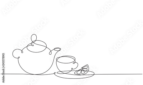 Fotomural Teapot and cup. Tea with lemon. Continuous line drawing.