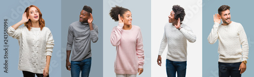 Foto Collage of group of african american and hispanic people wearing winter sweater over vintage background smiling with hand over ear listening an hearing to rumor or gossip
