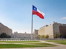 La Moneda Palace And Bicentenario Chilean Flag - Santiago, Chile
