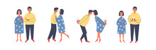 A Set Of Characters In Different Poses For Valentine's Day. Happy Couple In Love Hugging Or Dancing. Young People Give Each Other Gifts, Surprises. Vector Flat Illustration.