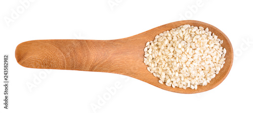 Sesame seeds on a wooden spoon as a white background.