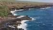 Molokai, Hawaii circa-2018. Aerial view of rocky coastline on Molokai. Shot with Cineflex and RED Epic-W Helium.