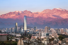 Aaerial View Of Santiago Skyline At Sunset With Andes Mountains - Santiago, Chile