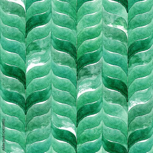 Materiał do szycia Akwarela, zielone tło, z zakrzywionymi faliste liście. Abstrakcja bezszwowe