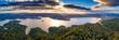 Leinwandbild Motiv Beautiful sunset over Solina lake in Bieszczady Mountains