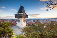 Graz Clock Tower At Sunset, Gr...