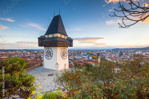 Cadres-photo bureau Europe Centrale Graz clock tower at sunset, Graz, Styria, Austria