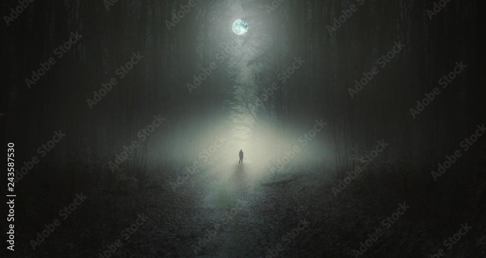 Fototapety, obrazy: Surreal horror scene with alone strange man in dark night forest