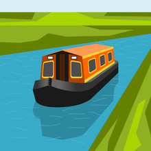 Editable Three-Quarter Top Front Side Oblique View Canal Boat On Calm Blue River Water Vector Illustration For Artwork Of Transportation Or Recreation Of United Kingdom Or Europe Related Design